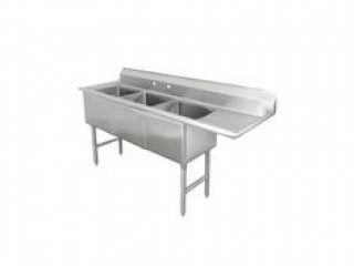 Akreeti Industry - Three Compartment Stainless Steel Sink With Right Drainboard